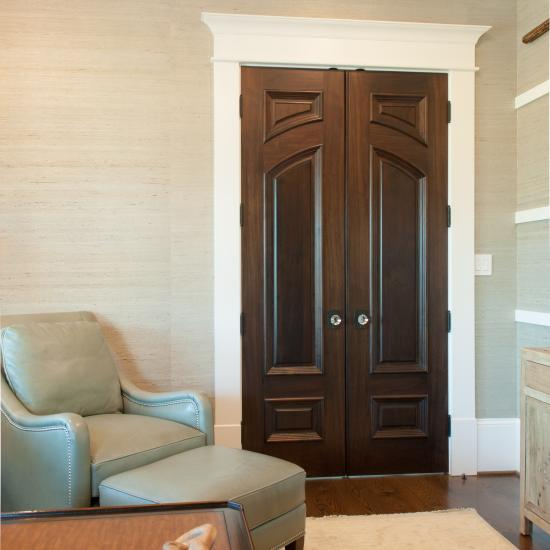 Custom study doors in walnut with big bolection moulding (BBM) and scoop (B) panel
