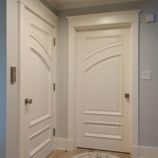Custom doors in MDF with big bolection moulding (BBM) and scoop (B) panel.