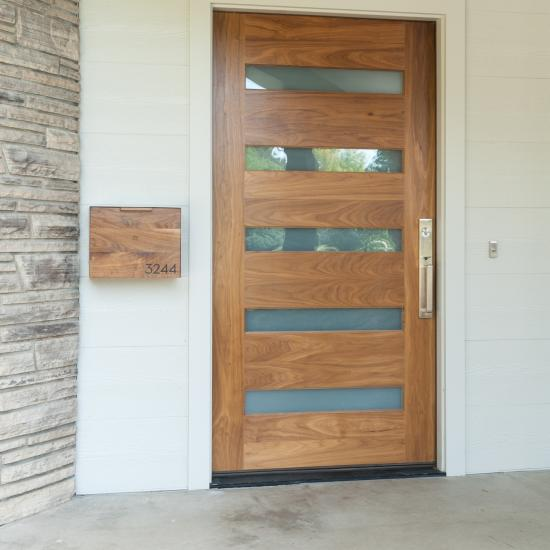 TM5100 exterior door in walnut with white lami glass and one step (OS) sticking