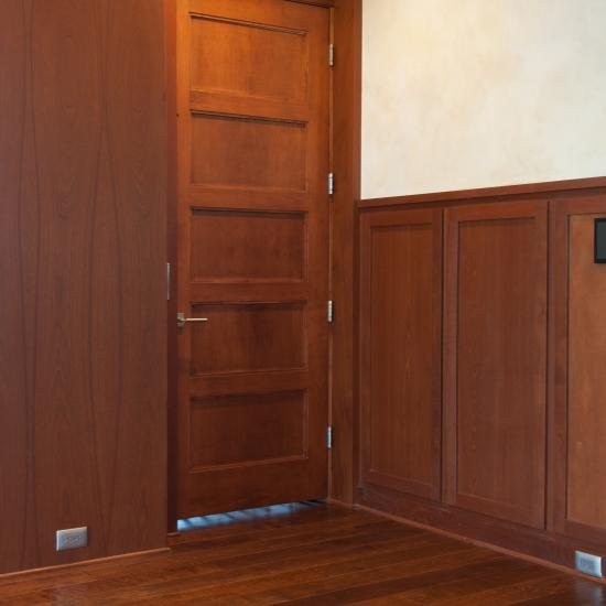 TS5000 elevator door in mahogany with One Step (OS) sticking and Flat (C) panel.
