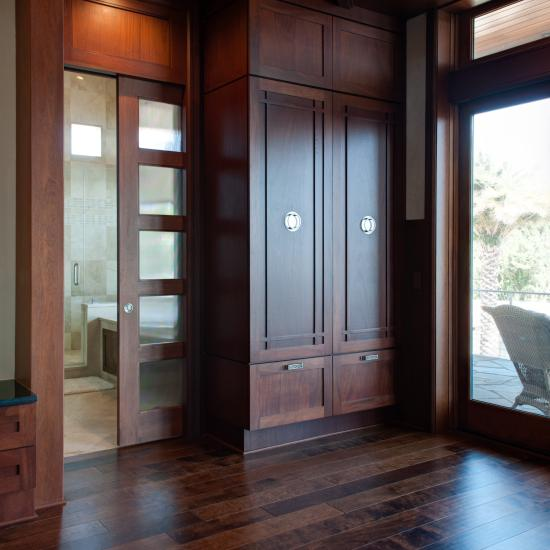 TS5000 pocket door in mahogany with One Step sash and custom glass