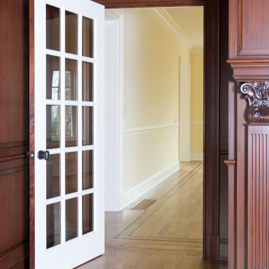 FL1500 study door in mahogany. Painted on one side