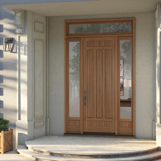 TS5030 entry system in walnut with clear coat finish, Bevel (BV) sticking and Raised (A) panel