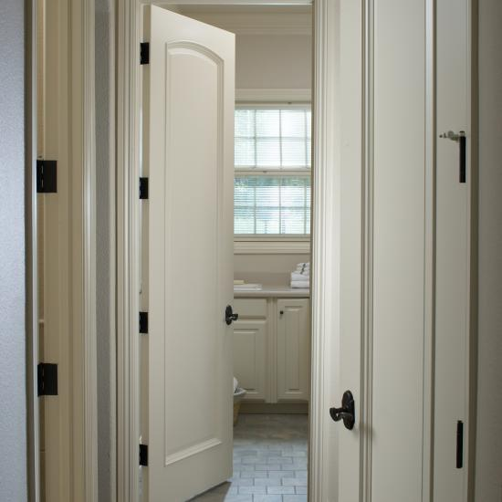 TS1030 laundry room door in MDF with Bolection (BM) moulding and Raised (A) panel.