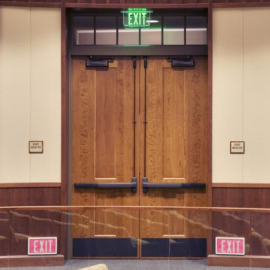 The City Council chamber features custom two-panel doors in cherry.