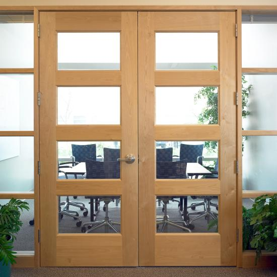 Pair of TS4100 doors in plain-sliced birch with glass panels