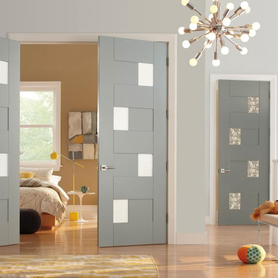 TM9420 in MDF with radius reveal and square stick (SS) compression fit glass. The pair features White Lami glass while the single door has Petal glass.