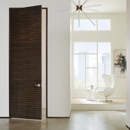 TMF1000 flush door in Mahogany with Ebony stain