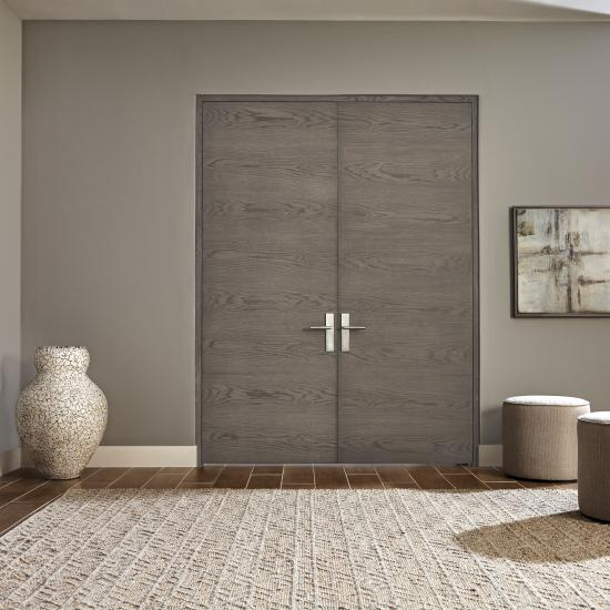 Pair of TMF1000 flush doors in plain sawn white oak with Grey Mist stain
