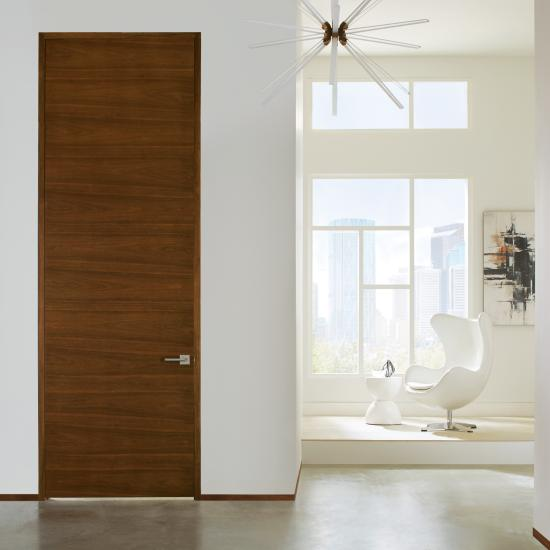 TMF1000 flush door in walnut with Walnut stain