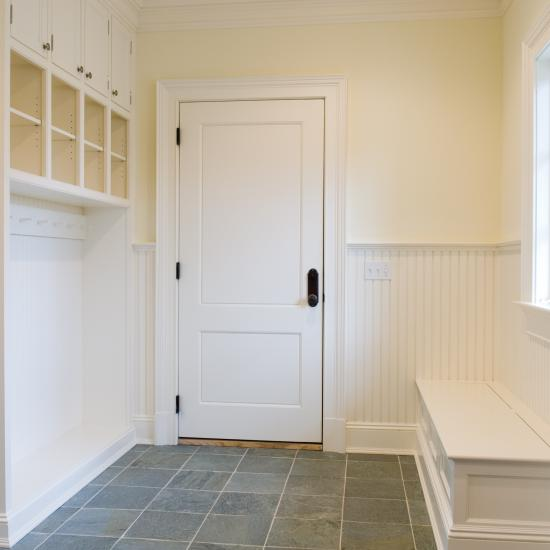 Mudroom with TS2060 house-to-garage fire door in MDF