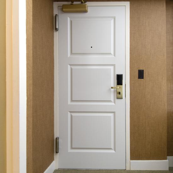 TS3000 20-minute fire-rated door in MDF with bevel (BV) sticking and scoop (B) panel