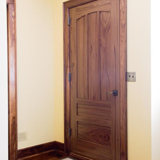 TS5040 house-to-garage fire-rated door in MDF that has been painted faux bois