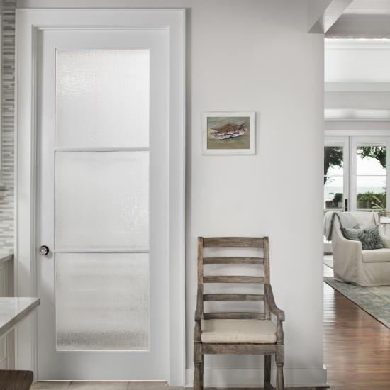 FL300 door in MDF with One Step (OS) sash and Rain glass.