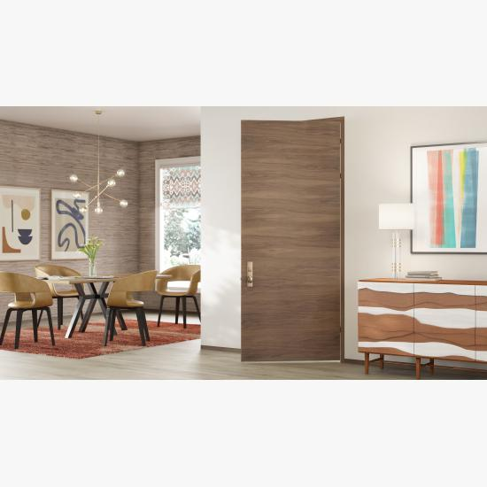 TMF1000 modern flush wood door in walnut with White Haze stain.