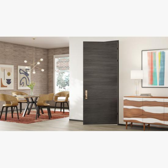TMF1000 modern flush wood door in walnut with Slate stain.