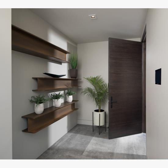 TMF1000 flush door in walnut with Ebony stain.