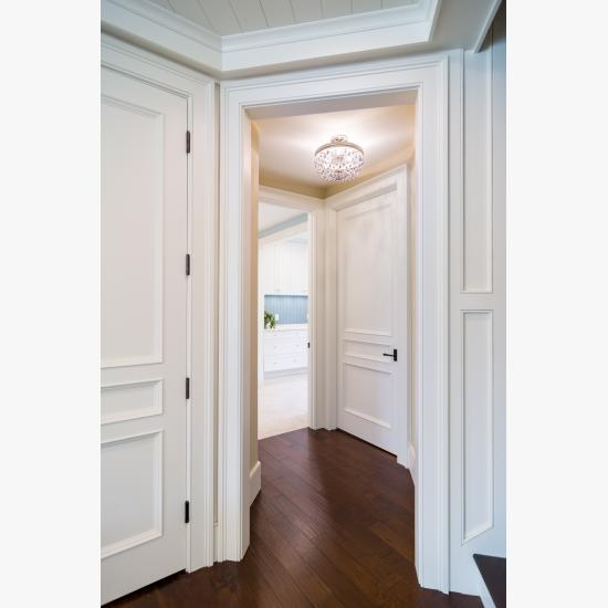 Hallway with TS3070 doors in MDF with Bolection moulding (BM) and Flat (C) panel.