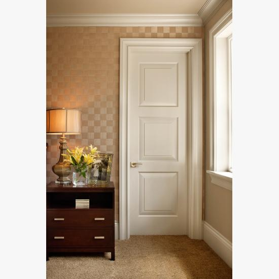 TS3000 bedroom door in MDF with Traditional (TR) sticking and senior raised (E) panel.