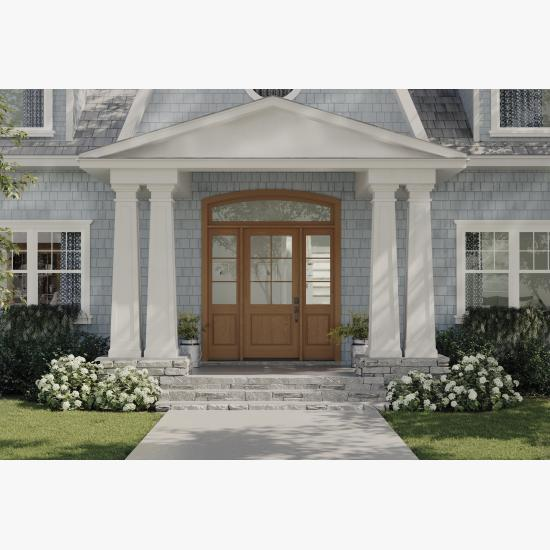 PL106 entry system in white oak with Quarter Round (QR) sticking and Raised (A) panel
