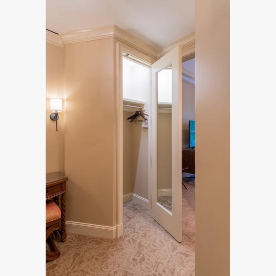 TS3100 closet door in MDF features an inset mirror, Roman Ogee (OG) sticking and Scoop (B) panel.