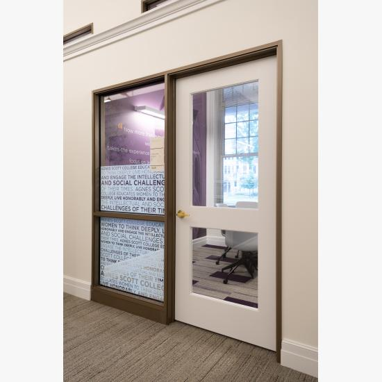 TS2020 doors in MDF with clear glass and One Step (OS) sticking.