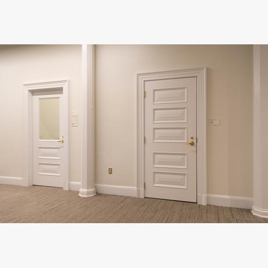 Custom MDF doors with clear glass, Bolection (BM) moulding and Senior Raised (E) panel.