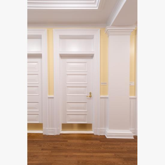 Custom 5-panel door in MDF with Bolection Moulding (BM) and Senior Raised (E) panel.