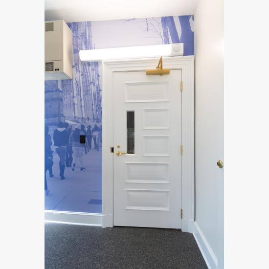 Custom fire-rated door in MDF with fire glass, Bolection (BM) moulding and Senior Raised (E) panel.