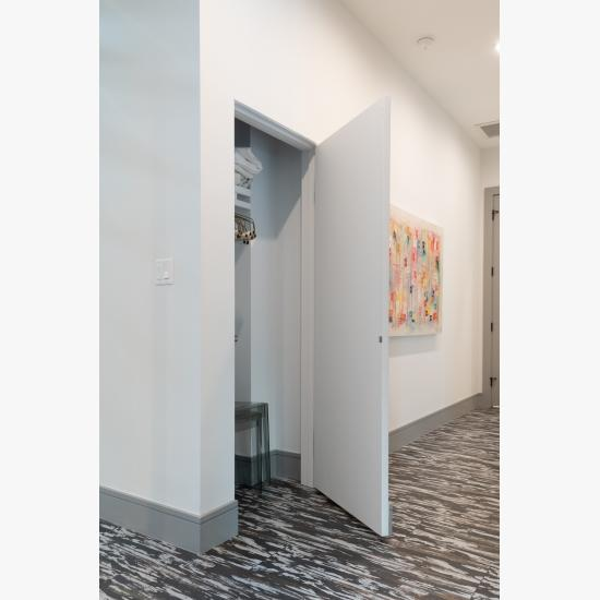 Concealed hinges and jamb allow this TMF1000 door in MDF to blend into the wall.