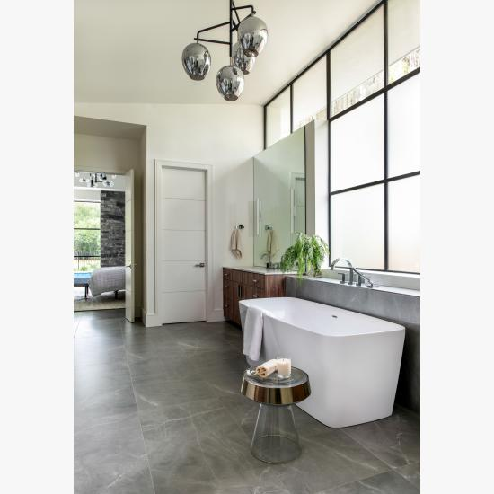 """Master bath features TMIR5000 doors in MDF with 1/4"""" kerf cut reveal"""