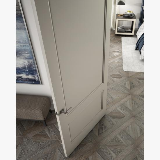 Detail of a TS2060 door in MDF with Cove (CV) applied moulding and Flat (C) panel.