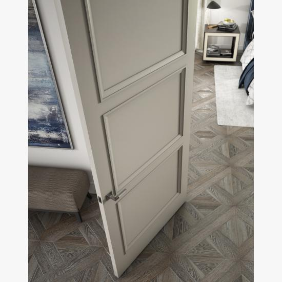 Detail of a TS3000 door in MDF with Evoke (EV) applied moulding and Flat (C) panel.